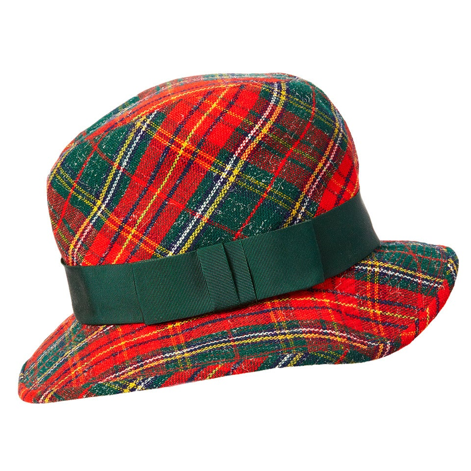 Yves Saint Laurent Tartan Plaid Tweed Hat 1