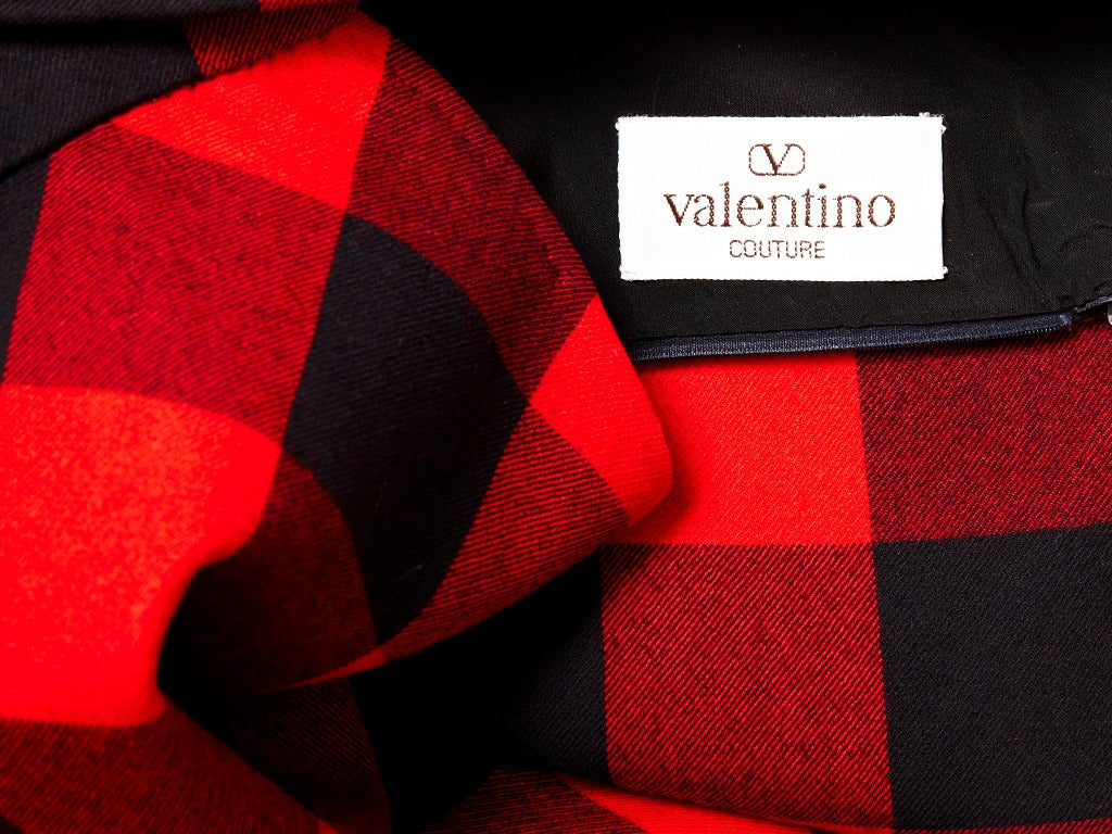 Women's Valentino Couture Plaid Skirt For Sale
