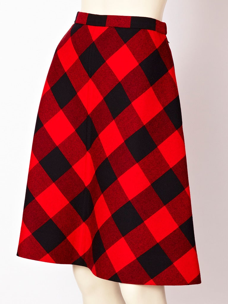 Valentino couture, red and black, wool plaid, A line skirt. Plaid is placed on the bias.