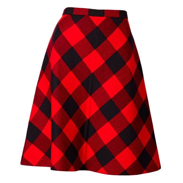 Valentino Couture Plaid Skirt For Sale
