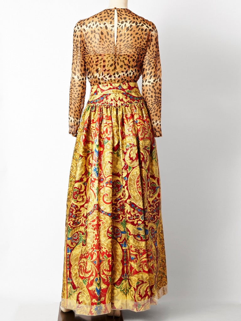 Beige Bill Blass Baroque and Leopard Print Gown For Sale