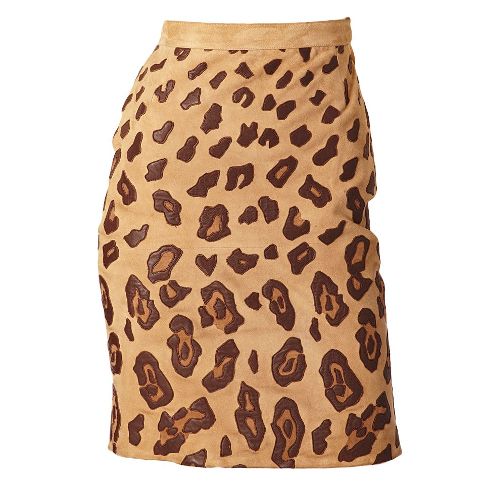 valentino Suede Leopard Print Skirt For Sale