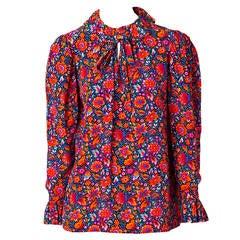Yves Saint Laurent Floral Print Silk Blouse
