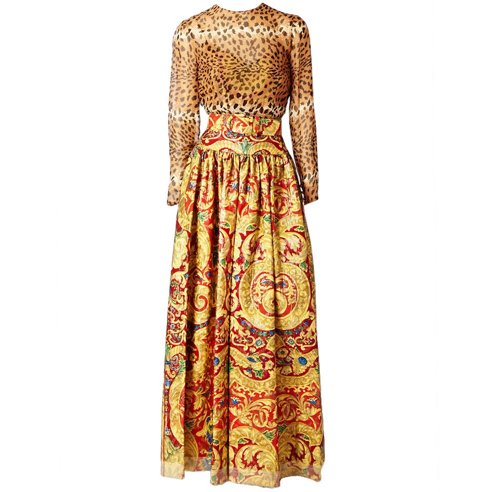 Bill Blass Baroque and Leopard Print Gown For Sale