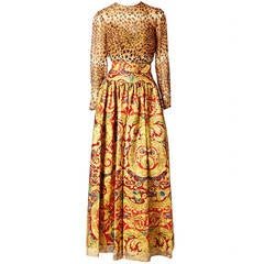 Bill Blass Baroque and Leopard Print Gown
