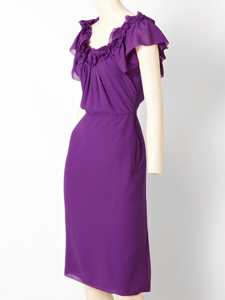 John Galliano for Christian Dior, purple, double layer silk, dress with a full bodice, and ruffled off the shoulder neckline. Skirt of the dress is slim fitting.