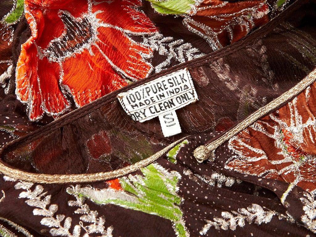 Floral and Lame Print Chiffon 70's Bohemian Ensemble 5