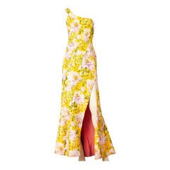 John Galliano Floral Print One Shoulder Gown