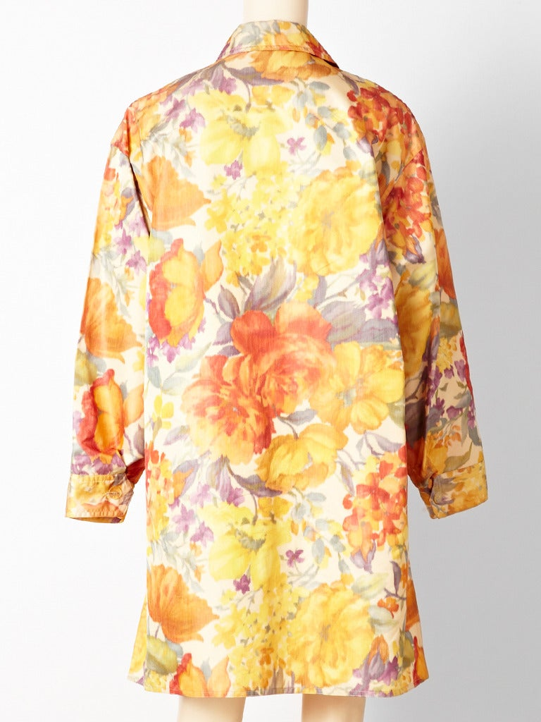 Orange Bill Blass Floral Chine Taffeta Spring Coat For Sale