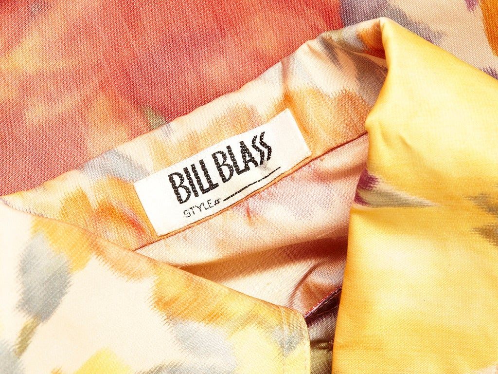 Bill Blass Floral Chine Taffeta Spring Coat In Excellent Condition For Sale In New York, NY