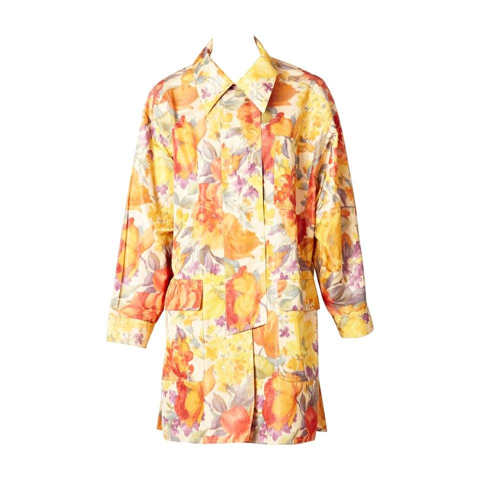 Bill Blass Floral Chine Taffeta Spring Coat For Sale