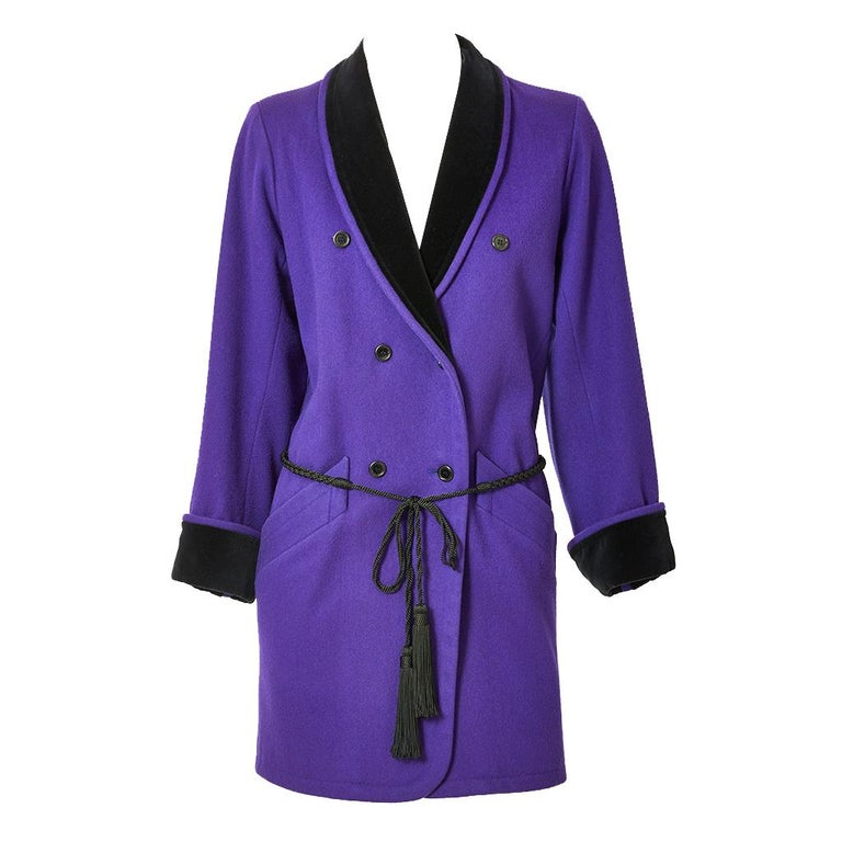 Yves Saint Laurent Rive Gauche Double Breasted Wool and Velvet Jacket For Sale