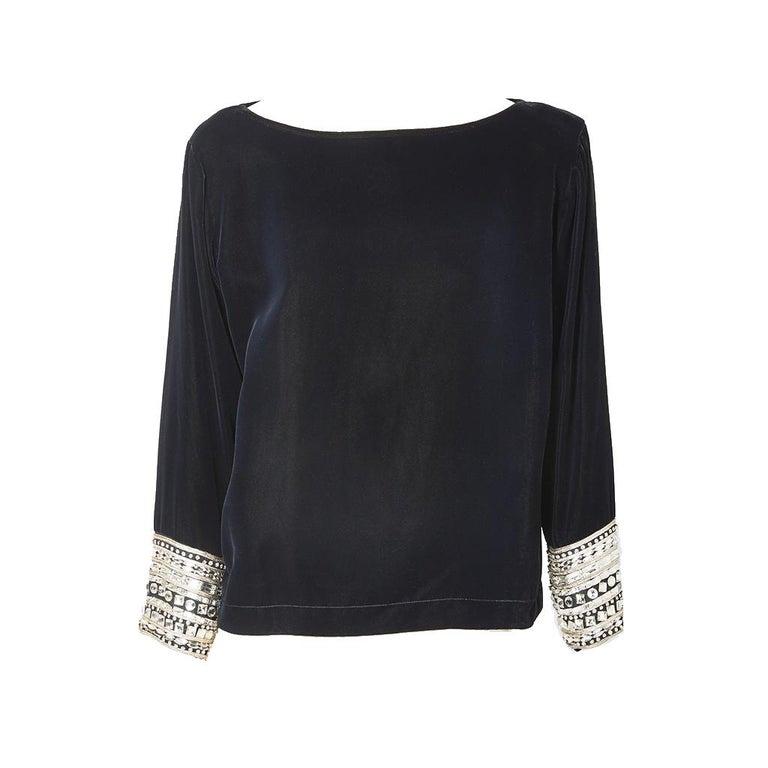 Yves Saint Laurent Velvet Top with Strass Embellishment For Sale