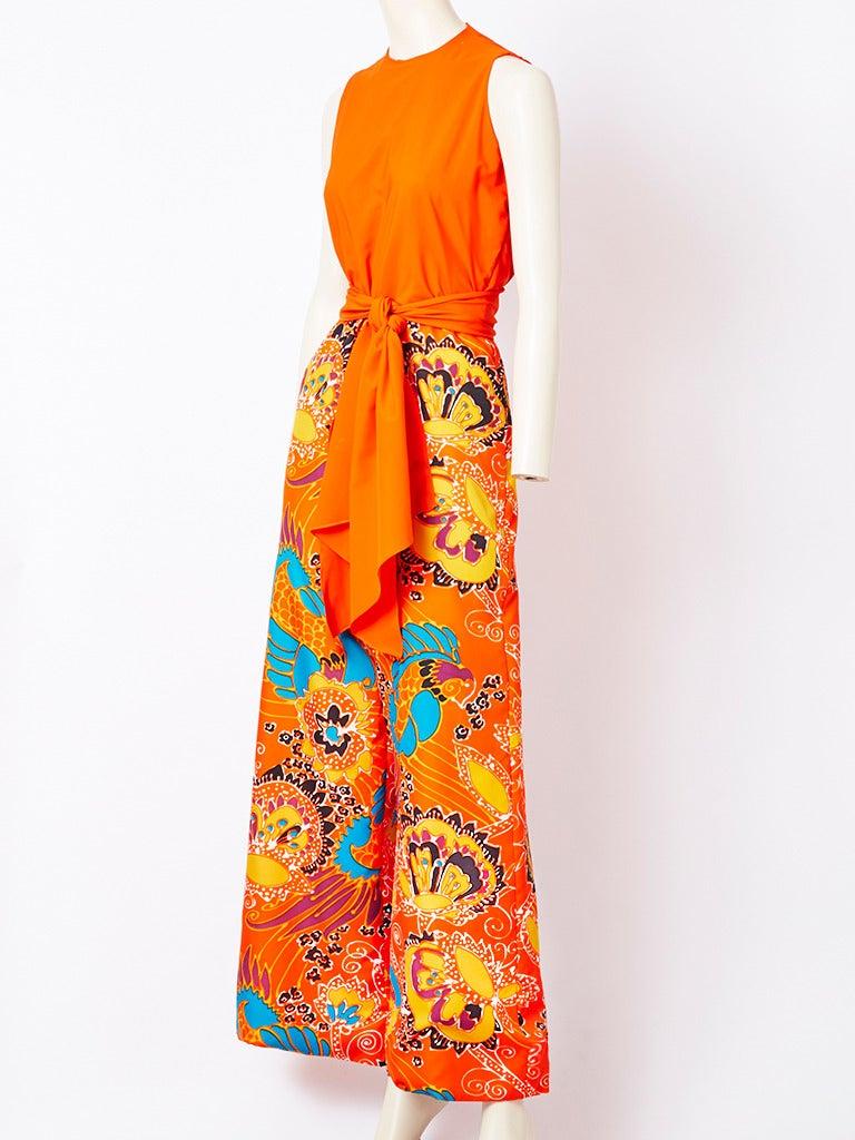Orange Beene Boutique Patterned Jumpsuit For Sale