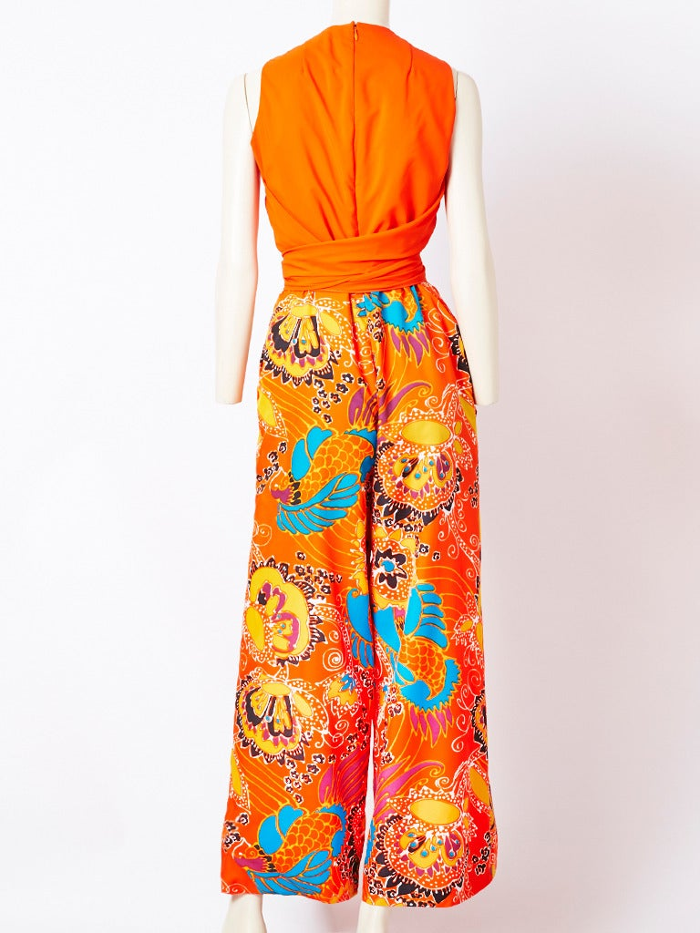 Beene Boutique Patterned Jumpsuit In Excellent Condition For Sale In New York, NY