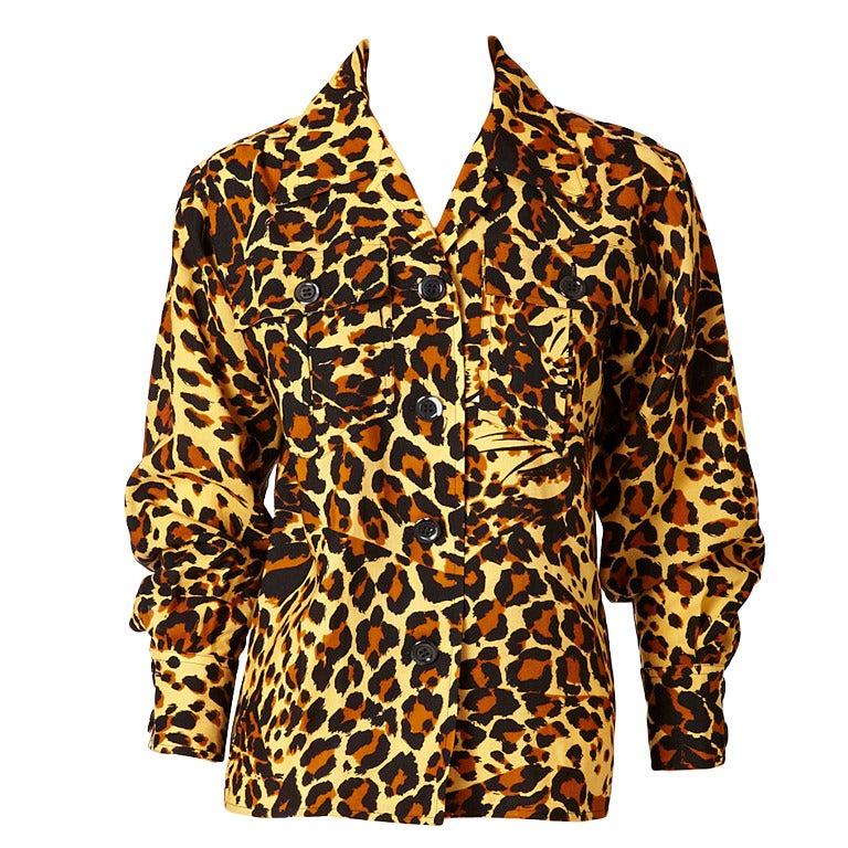 Yves Saint Laurent Leopard Print Blouse