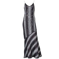John Galliano Bias Cut Lurex Knit Evening Dress with  Sequins