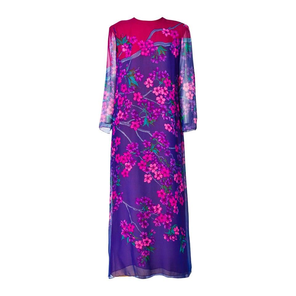 Hanae Mori Floral Chiffon Dress