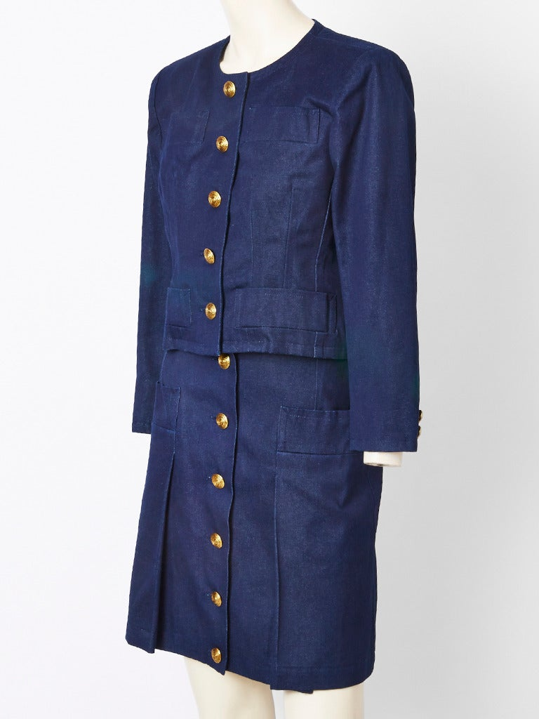 yves laurent denim skirt suit for sale at 1stdibs
