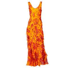 John Galliano Bias Cut Chiffon Dress