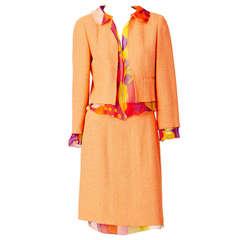 4ef74ea9b516 1990s Chanel Orange Silk Belted Jumpsuit For Sale at 1stdibs