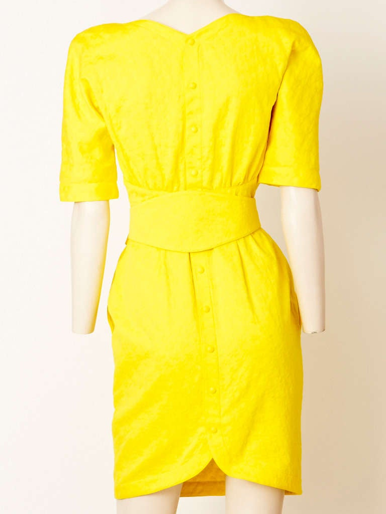 Yellow Thierry Muglar Belted Summer Dress For Sale