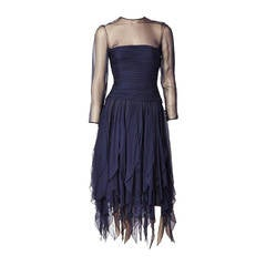 Don Simonelli Navy Chiffon Cocktail Dress