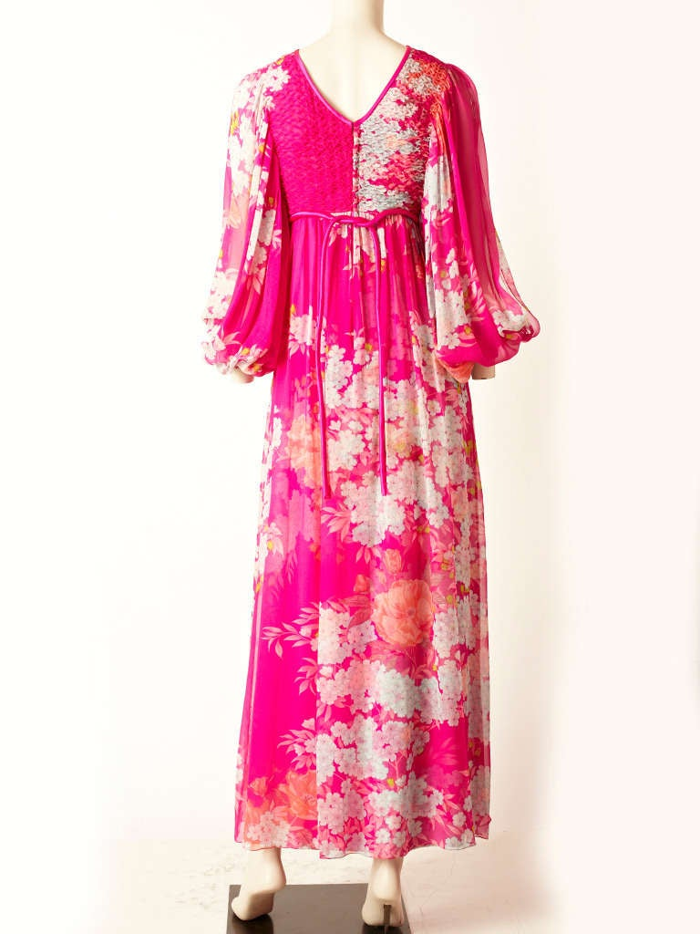 Hanae Mori Printed Chiffon Maxi Dress With Smocking 3