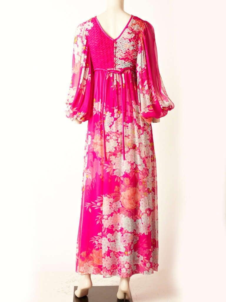 Pink Hanae Mori Printed Chiffon Maxi Dress With Smocking For Sale