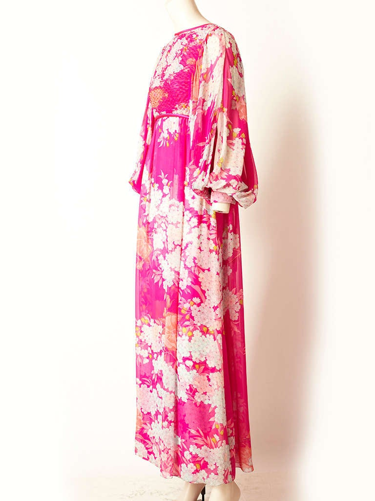 Hanae Mori Printed Chiffon Maxi Dress With Smocking 2