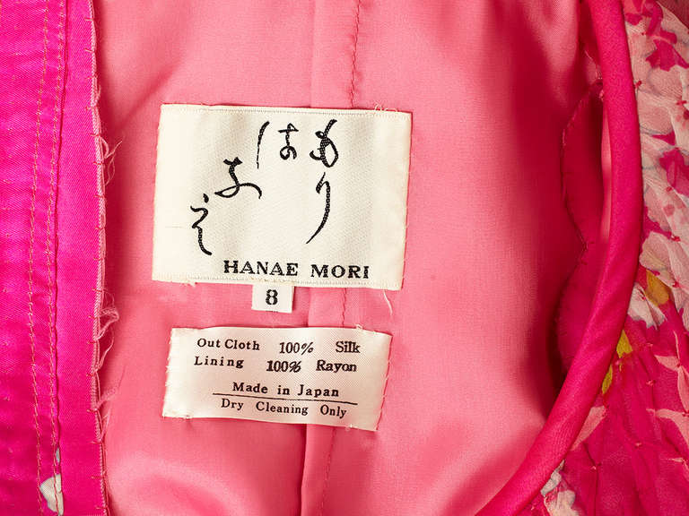 Hanae Mori Printed Chiffon Maxi Dress With Smocking In Excellent Condition For Sale In New York, NY