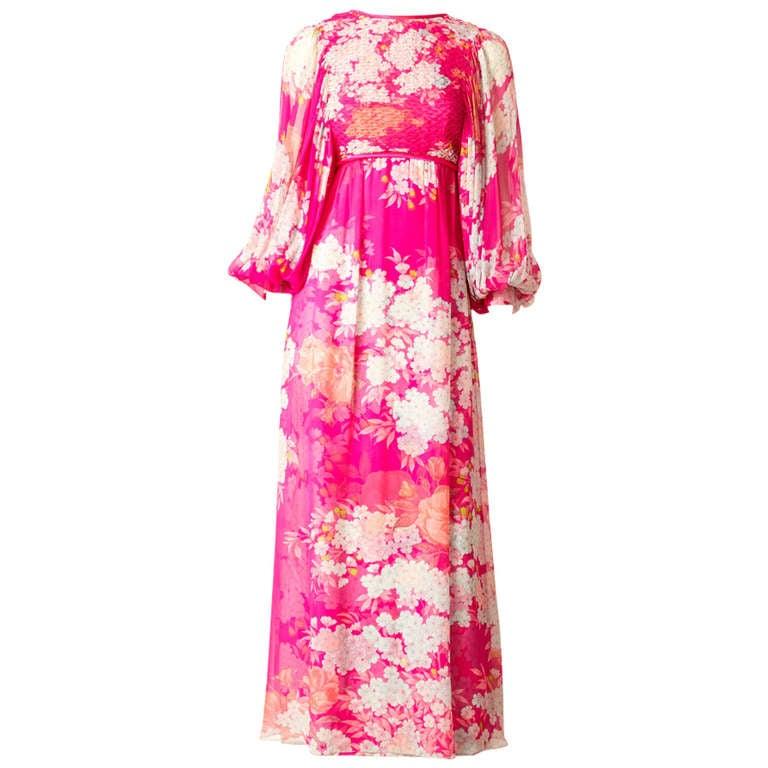 Hanae Mori Printed Chiffon Maxi Dress With Smocking For Sale