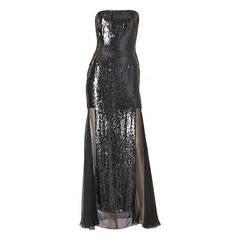 Oscar de la Renta Sequined and Chiffon Strapless Gown