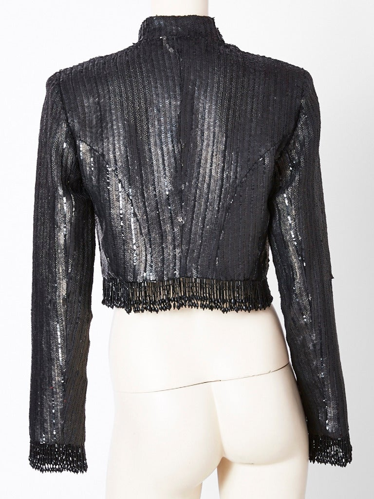Black Fernando Sanchez Sequined and Beaded Cropped Evening Jacket For Sale