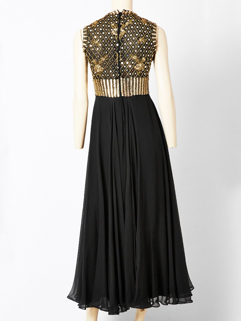 Black Elizabeth Arden Beaded and Chiffon Evening Dress For Sale