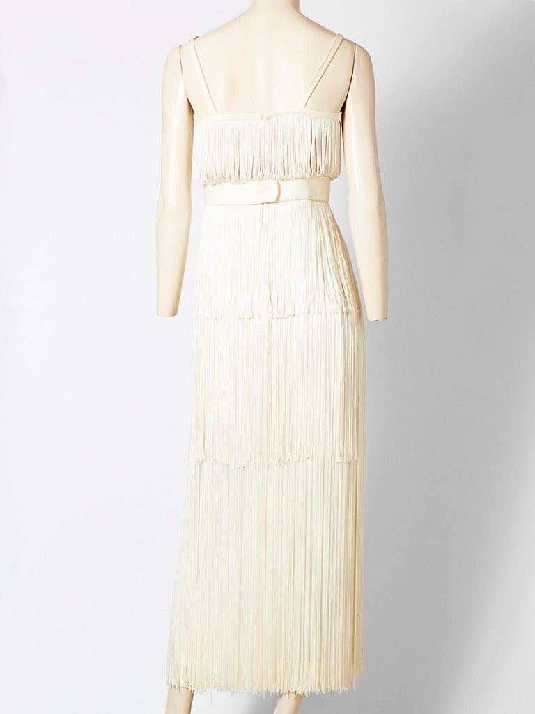 Alfred Bosand Ivory Fringed Gown 3