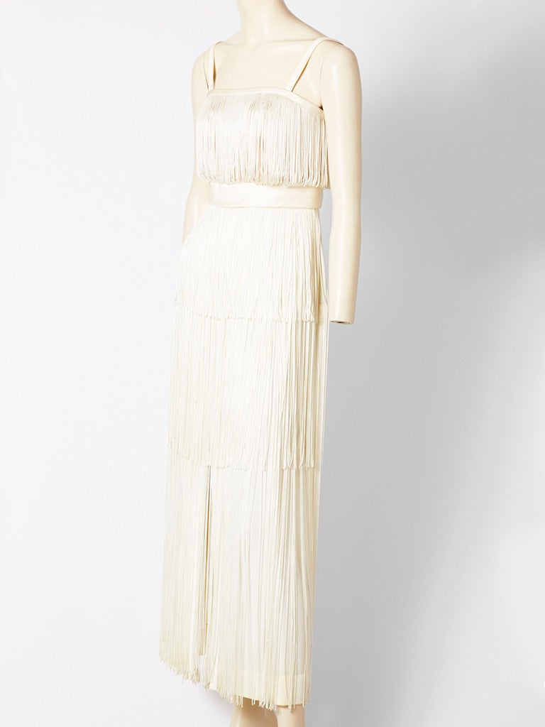 Alfred Bosand Ivory Fringed Gown 2