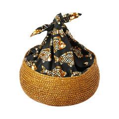 Isabel Canovas Straw and Batik Print Asian Inspired Bag