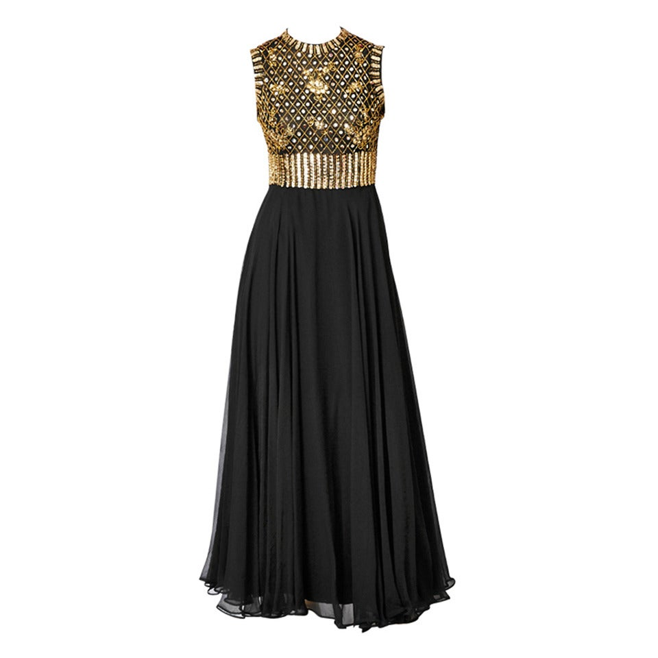 Elizabeth Arden Beaded and Chiffon Evening Dress For Sale