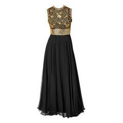 Elizabeth Arden Beaded and Chiffon Evening Dress