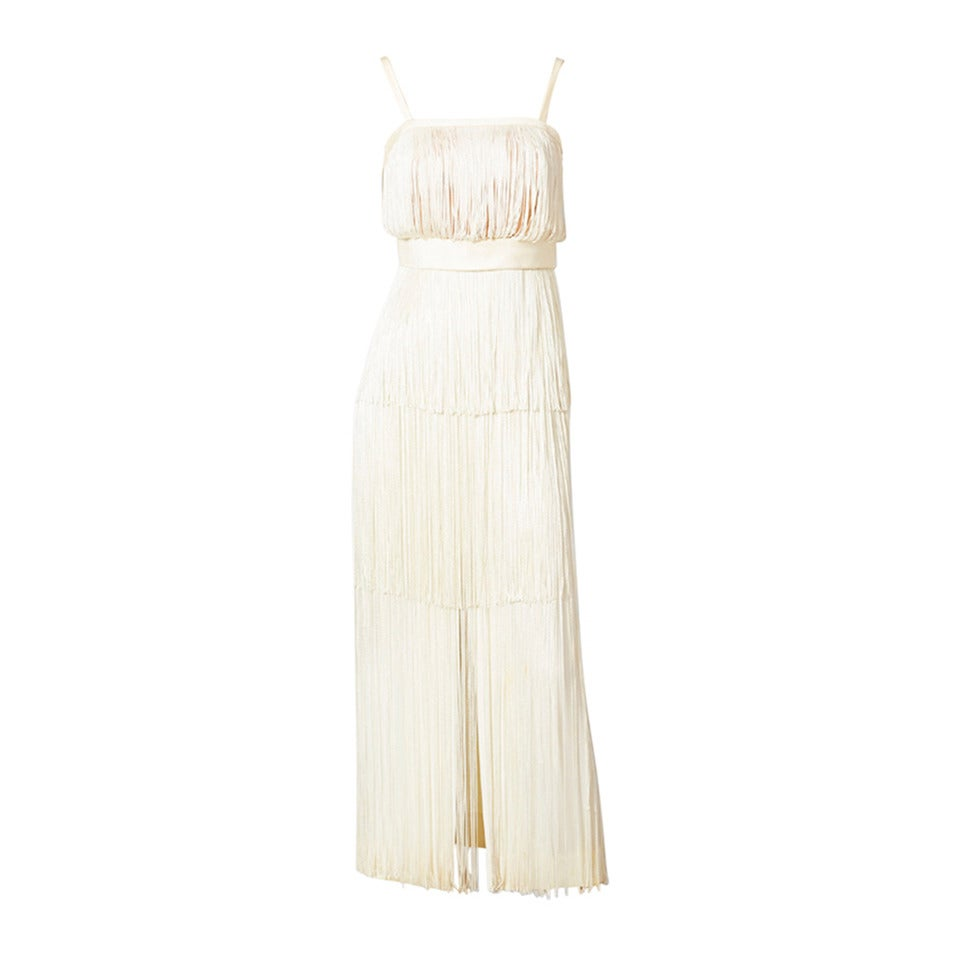 Alfred Bosand Ivory Fringed Gown