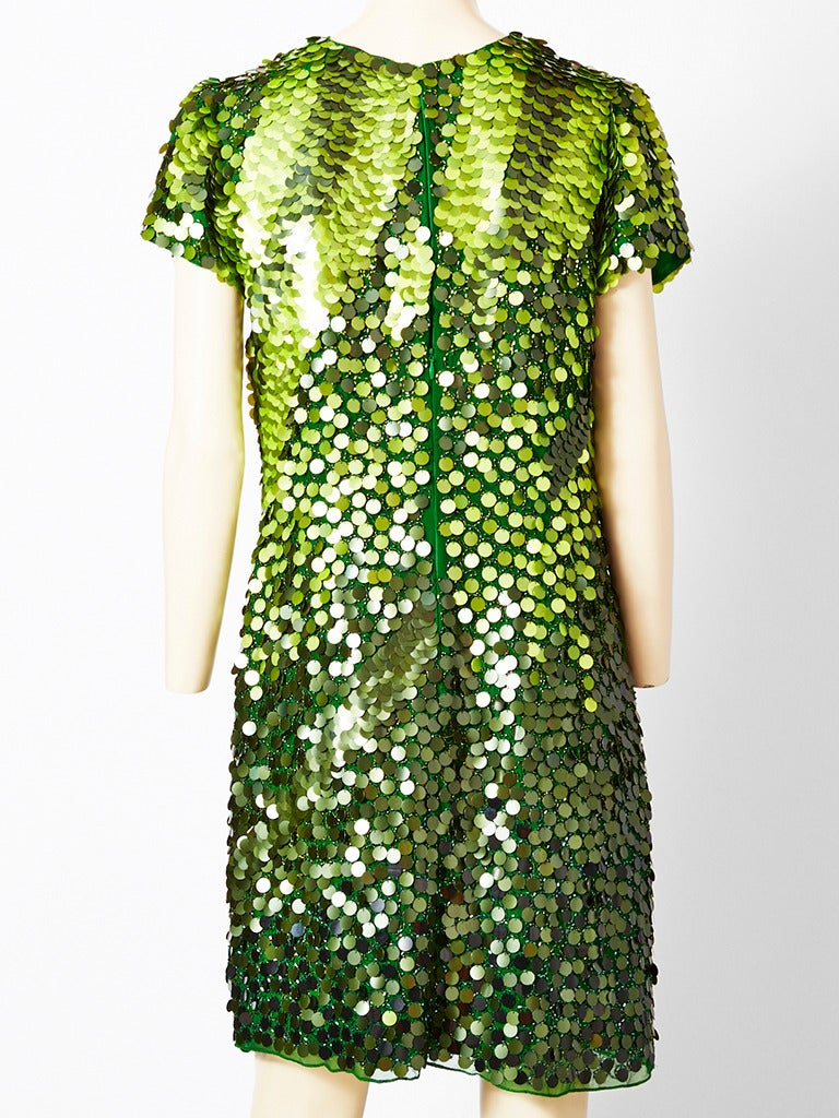 Green John Galliano  Chiffon Tee Shirt Dress With Paiettes For Sale