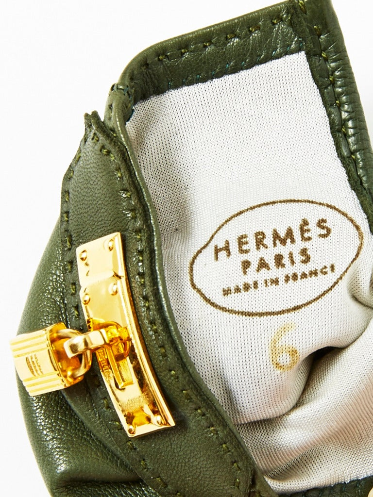 Hermes leather Gloves In Excellent Condition For Sale In New York, NY