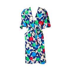Jacqueline de Ribes Floral Print Silk Crepe Day Dress