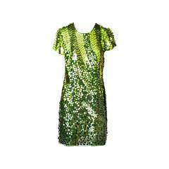 John Galliano  Chiffon Tee Shirt Dress With Paiettes