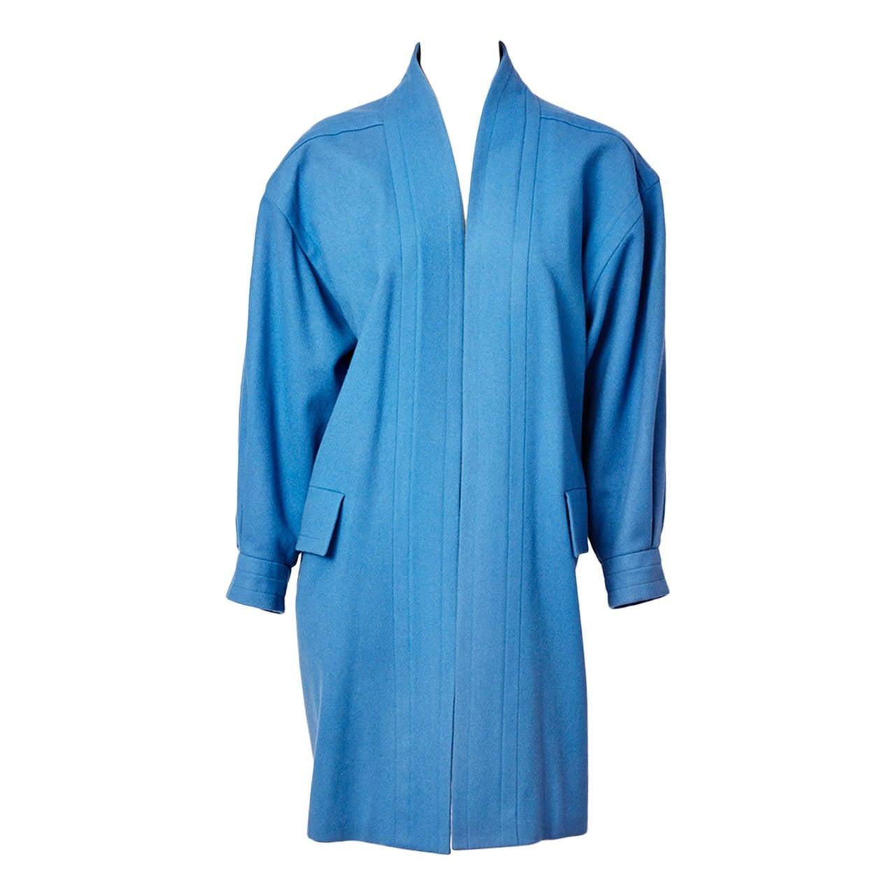 Yves Saint Laurent French Blue Wool Coat
