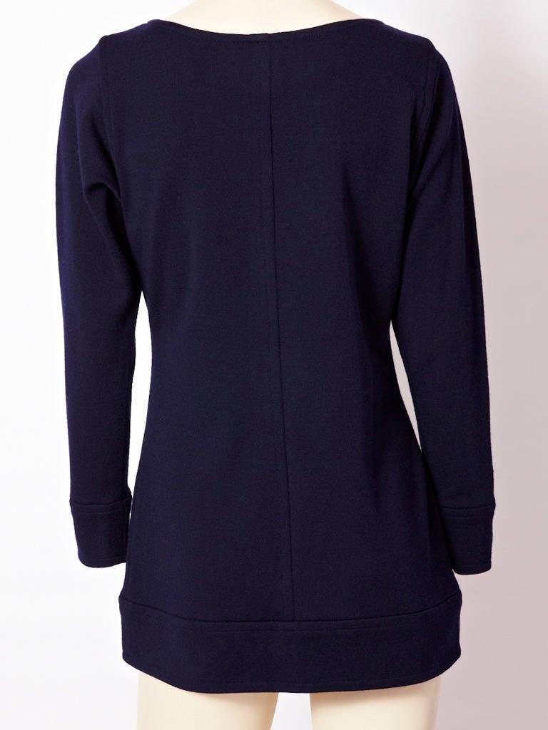 Yves Saint Laurent Navy Wool Knit Tunic 3