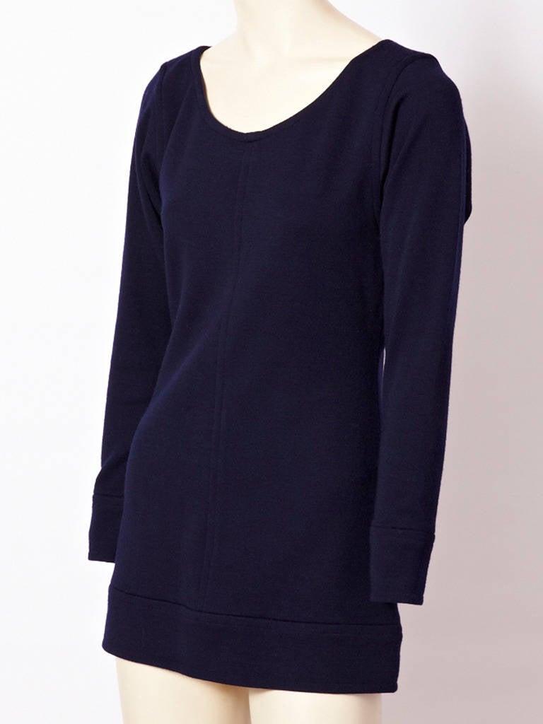 Yves Saint Laurent Navy Wool Knit Tunic 2