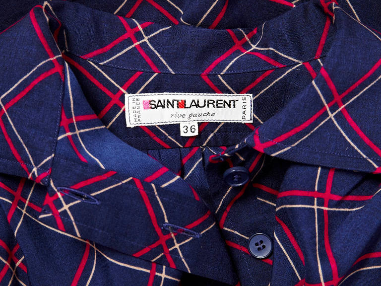YSL Plaid Shirt Dress 4