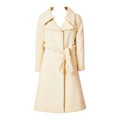 Galanos Wool Matelasse Coat With Braided Belt
